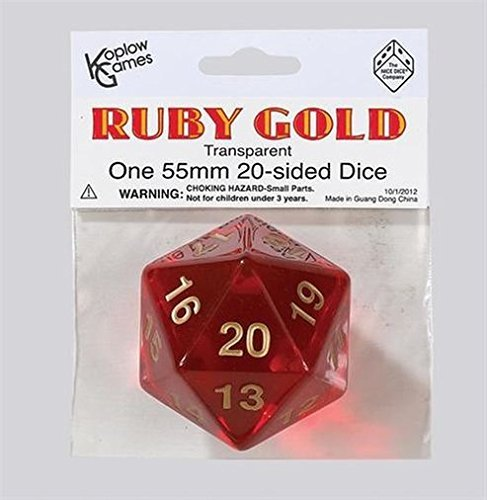 Polyhedral Dice: 20-sided 55mm Ruby Gold by Koplow Games by Koplow Games