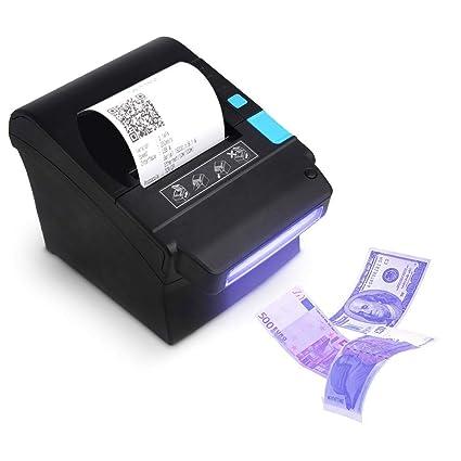 [Detector de Dinero] 300 mm/Sec Impresora de Tickets térmicos de 80 mm con Detector de Moneda UV Impresora de Recibos térmicos