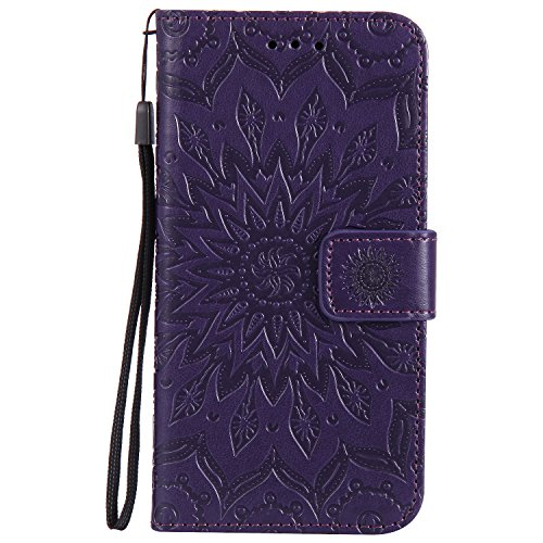 (Dfly-US P8 Lite 2017 Case, Premium PU Leather Embossed Mandala Design with Kickstand Function Card Slots & Wrist Strap Protective Flip Slim Wallet Cover for Huawei P8 Lite 2017, Purple)