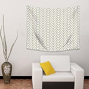 Wall Hanging Tapestry Modern Herringbone Living Room Bedroom Home Dorm Decor Minimalist Pattern Art Tapestries -White and Gold