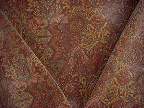 43H12 - Cinnamon / Mocha / Taupe Persian Floral Paisley Faux Velvet Velour Drapery Upholstery Drapery Fabric - By the Yard (Paisley Chenille Tapestry Fabric)
