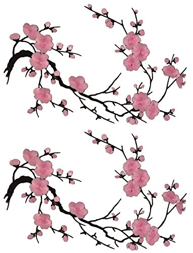 Two Asian Cherry Blossom Sakura Flower Iron on Embroidered Appliques Patch Japanese Chinese (Black-Pink)
