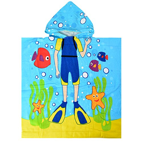 (SearchI Kids Hooded Bath Towel for Boys 2 to 6 Years Old, Quick Dry Breathable Microfiber Cute Fish Cartoon Kids Poncho Towel for Beach Pool Swim Shower, 24