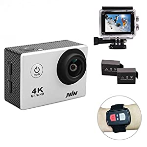 JVIN 4K Sports Action Camera Waterproof Remote Control Wifi Camcorder 16MP 170 Degree Ultra Wide Angle Dash Cam 2PCS Rechargeable Batteries 2 inch LCD Screen 22 Mounting Accessories Kits