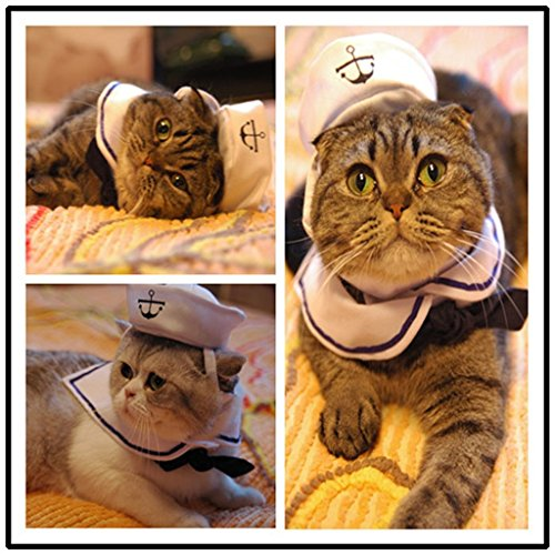 Kailian Sailor Adjustable Costume Hat & Navy for Cat Small Dog Puppy - Pet Navy Cap