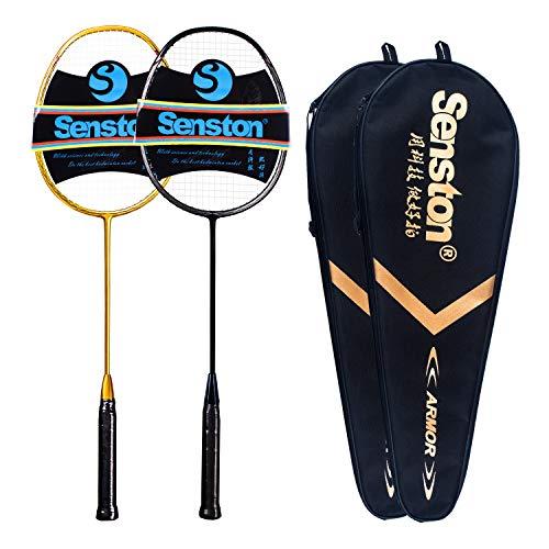 Senston N80 Graphite High-Grade Badminton Racquet,Professional Carbon Fiber Badminton Racket Included Black Gold Color Rackets 2 Carrying Bag