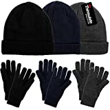 DG Hill Mens Winter Hat And Gloves Set with 3M Thinsulate fleece lining, warm Knit winter Beanie Hat & Watch Cap And Driving Gloves For Men & Teen Boys, Cold Weather Toboggan Hats