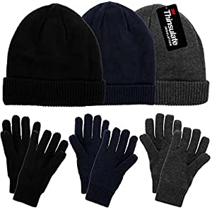 43265ed9dc44a DG Hill Mens Winter Hat and Gloves Set with 3M Thinsulate Fleece Lining  Beanie