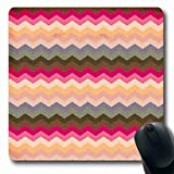 ArtsDecor Mousepads Bright Chevron Pattern Abstract Pink Grey Zigzag Beige Seasonal Oblong Shape 7.9 x 9.5 Inches Oblong Gaming Mouse Pad Non-Slip Mouse Mat