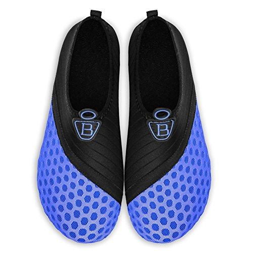 Barerun Barfuß Quick-Dry Wasser Sportschuhe Aqua Socken für Schwimmen Beach Pool Surf Yoga für Frauen Männer Schwarz Blau