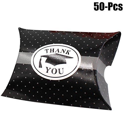 Graduation Favor Box, Funpa 50PCS Party Candy Box Creative Thank You DIY Party Favor Box Paper Pillow Box ()