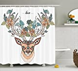 Antlers Decor Shower Curtain Set by Ambesonne, Deer Head with Flowers Blooms Ethnic Cultural Design Ornamental Illustration Print, Bathroom Accessories, 75 Inches Long, Tan Green Teal