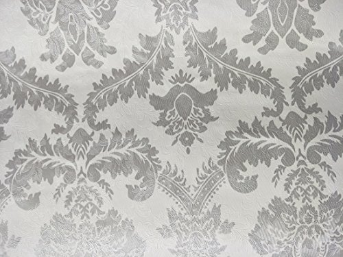 Just Peel and Stick Pvc Damask Wallpaper Contact Paper Waterproof Removable Wall Decor Sticker for Bedroom (silver grey) - Damask Vinyl Wallpaper