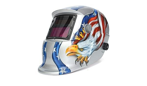 KUNSE Águila Solar Soldador Máscara Eléctrico Soldar Auto Oscurecimiento Soldadura Casco: Amazon.es: Hogar