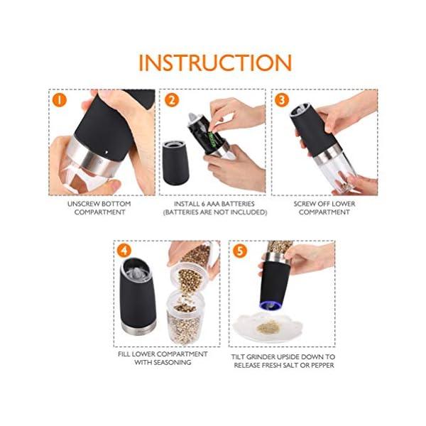 Macinapepe Elettrico, pepe Premium e macina di sale con macina sale elettrico durevole regolabile di precisione… 5