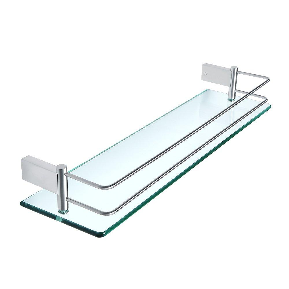 Sayayo estante de bañ o de vidrio con estante montado en la pared 20 pulgadas, acero inoxidable cepillado acabado, EGC1000