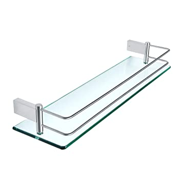 Peachy Sayayo Tempered Glass Shelf Bathroom Shelf With Rail Wall Mounted 20 Inches Stainless Steel Brushed Finished Egc1000 Download Free Architecture Designs Scobabritishbridgeorg
