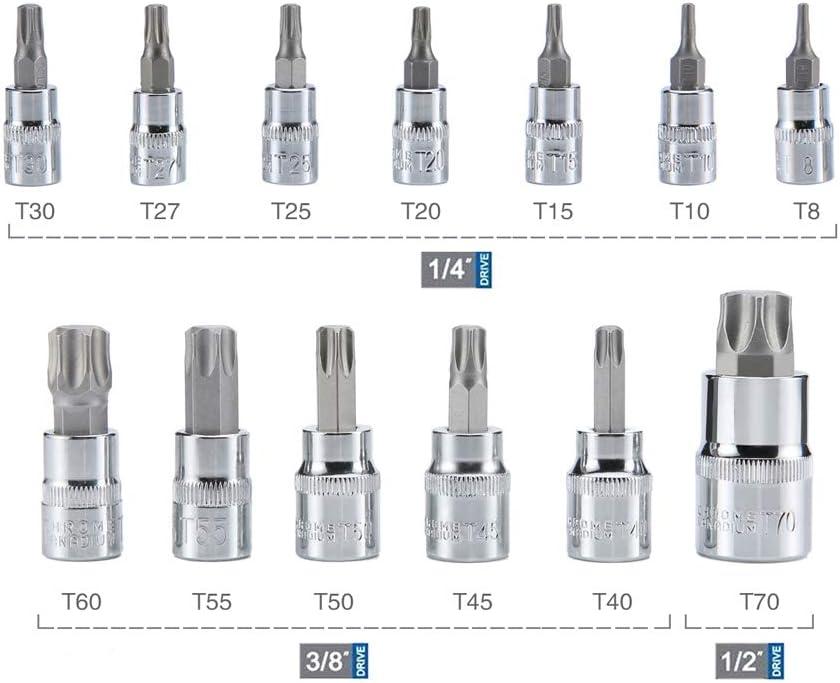 Juego de brocas Torx tama/ño T30 T40 T45 T50 T55 T60 T70 T80 8 piezas de 1//2 pulgadas de unidad Torx Star Socket Set