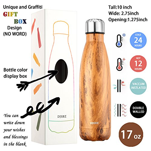 DJSBZ Vacuum Cola Shape Double Walled 18/8 Stainless Steel Water Bottle Leak-proof Keep Hot & Cold, Travel Sports Personalized Metal Water Bottle,17 Oz (500 ml) Wood Grain by DJSBZ (Image #2)