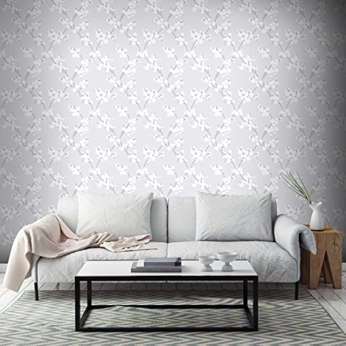 Graham & Brown 103295 Cherry Blossom Wallpaper, Silver Graham Cherry Blossom