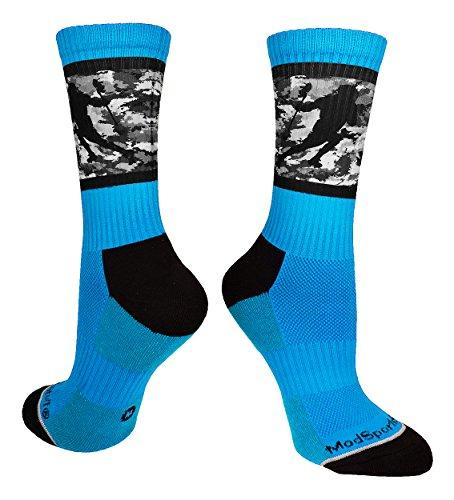 MadSportsStuff Lacrosse Socks with Player on Camo Background Crew Socks (Electric Blue/Black, Medium)