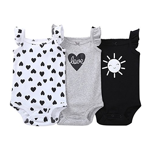 Cotton Armoire (Gonxifacai Summer Baby Newborn Girls Cotton Romper Toddler Carton Print 3PCSRomper Pajamas Set(Black,6 Months))