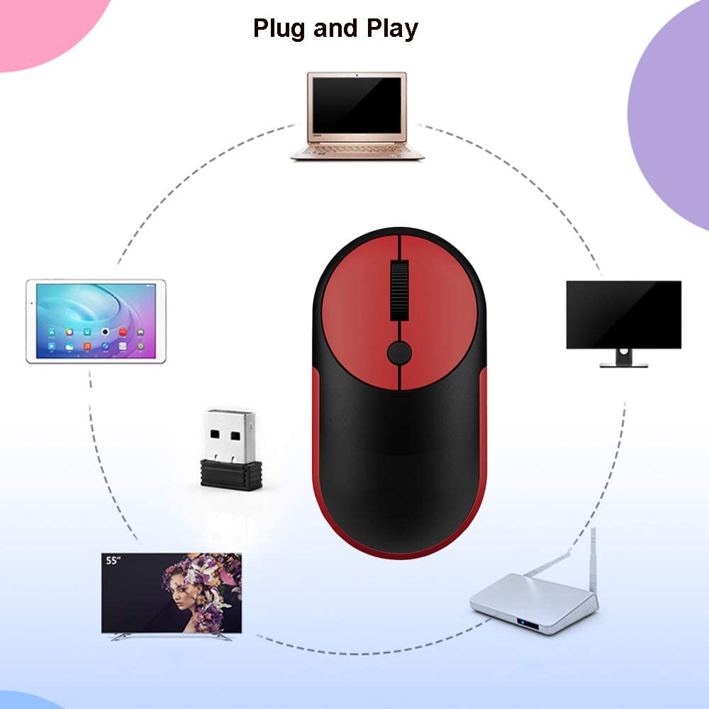 Gaming Wireless Keyboard and Mouse Set,Ultra-Thin Mute Ergonomic Chocolate Keycaps Keyboard Color : Red 1600DPI Noiseless Cordless Mouse Office Keyboard Portable Gaming Keyboard