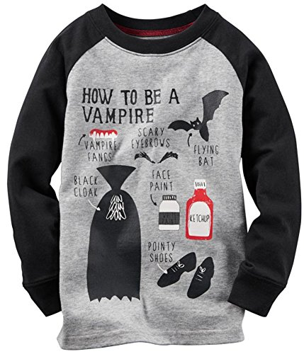 Carters Long-Sleeve Vampire Tee (3T, Gray) Carters Long Sleeve Raglan Tee