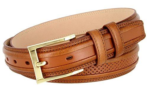 BL009 Genuine Perforated Center Leather Golf/Dress Belt 1-1/4