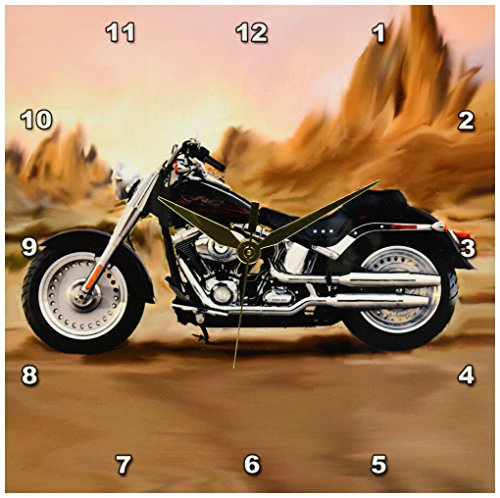 3dRose Picturing Harley-Davidson and No.174 Motorcycle Wall Clock, 10 by 10-Inch