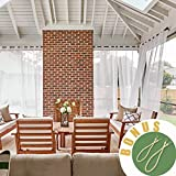 NICETOWN Outdoor Curtain Panels for Porch - Window Treatment Silver Grommet Water Repellent Indoor Outdoor Sheer Voile Drapes with Rope Tiebacks (Set of 2 Panels, 54 by 84 Inch, White)