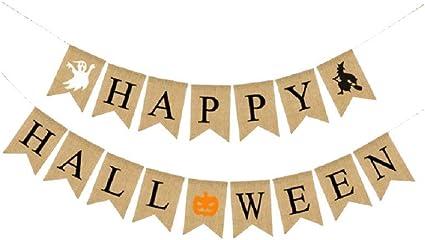 Amazon.com: EBTOYS Happy Halloween banderines guirnalda fantasma bruja calabaza estampado banderines para Halloween fiesta decoración – 2 cuerdas: Toys & Games