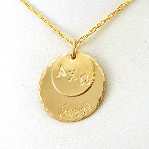 Omega Necklace Personalized (Personalized Gold Alpha Chi Omega Necklace | Two Disk Layered AXO Necklace | Official Licensed Product)