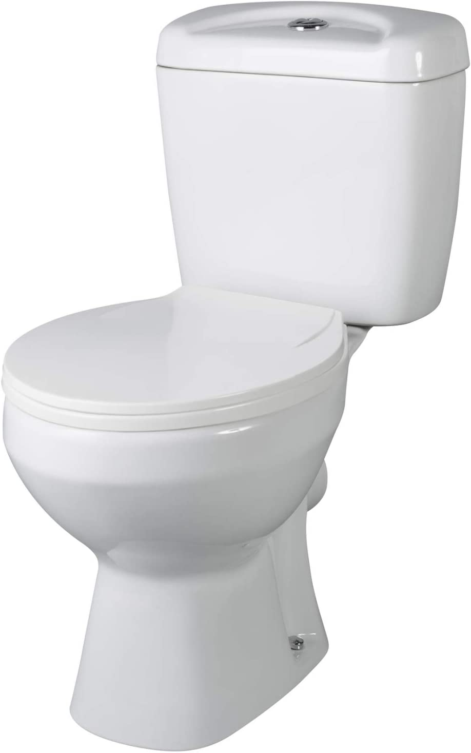VeeBath Base Ceramic White Close Coupled Modern Cloakroom Bathroom WC Toilet Pan & Cistern with Soft Closing Seat