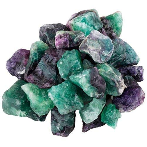 Crocon Flourite Bulk Natural Rough Stone Raw Gemstone & Crystals Rock Supplies for Healing Tumbling, Cabbing, Polishing, Wire Wrapping, Cutting, Lapidary and Energy Generator (Quantity - 1/4 LB)]()