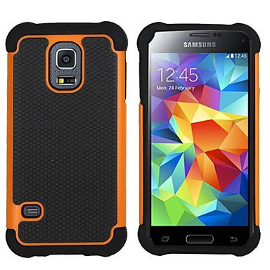 Hybrid Rugged Rubber Silicon+PC Shockproof 2 In 1 Hard Cover Cases For Samsung Galaxy S3 Mini/S4 Mini/S5 Mini/S5 Active ( Color : Orange , Compatible Models : Galaxy S4 Mini )