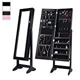 Cloud Mountain Mirrored Jewelry Cabinet Free Standing Lockable Jewelry Armoire Full Length Floor Tilting Jewelry Organizer, 4 Adjustable Angle Organizer Storage, Black