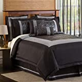 Lush Decor Croc 8-Piece Comforter Set, Full, Black/Silver