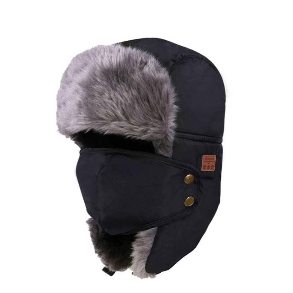 0a7ff2a1265f4 Amazon.com   Bornbayb ChYoung Unisex Bluetooth Winter Trapper Hat Faux Fur  Wireless Ushanka Russian Hats Misic Hat with Earflaps Face Mask   Sports    ...