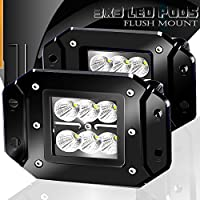 Turbo 2pcs Flood 3x3 Dually Flush Mount Led Light Lamps...