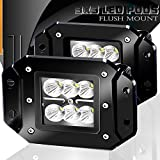 98 nissan frontier bumper - Turbo 2pcs Flood 3x3 Dually Flush Mount Led Light Lamps Dually D2 Off Road Back Up Reverse lights 4x4 4wd Jeep Truck F150 F250 F350 Toyota Tacoma Honda Dodge Ram Chevy Silverado Front/Rear Bumper