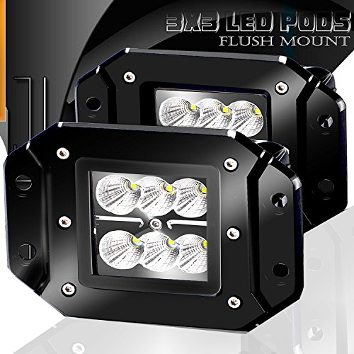 Turbo 2pcs Flood 3x3 Dually Flush Mount Led Light Lamps Dually D2 Off Road Back Up Reverse lights 4x4 4wd Jeep Truck F150 F250 F350 Toyota Tacoma Honda Dodge Ram Chevy Silverado Front/Rear Bumper