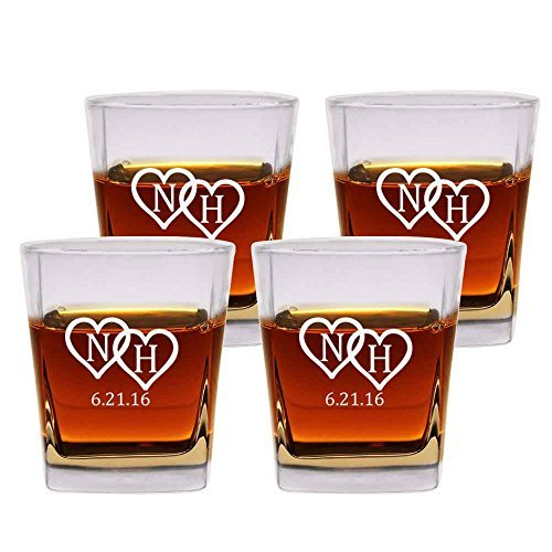 hioned Glasses Set of 4 by Froolu Customized Etched Scotch 12oz. Double Rocks Whiskey/Old Fashioned (Brown Double Old Fashioned)
