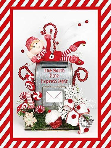 Christmas Peppermint Express - Peppermint Christmas Elf North Pole Express Santa Mailbox Centerpiece