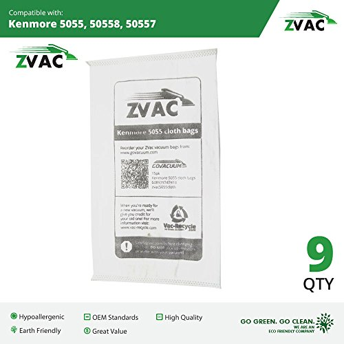 Style 9 Pleat Filter (Kenmore Style C/Q Micro Filtration Canister Cloth Vacuum Bags Similar to 50558, 5055, 50557 by ZVac (Pack of 9))