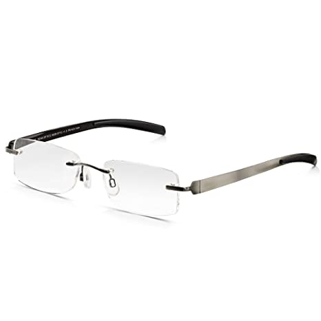 32d91efdc7 Read Optics Gafas de lectura para hombres: Rectangular sin montura  antideslumbrante Protección digital Lentes ópticas