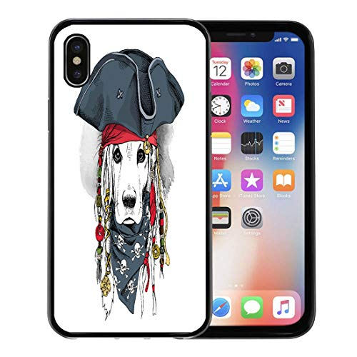 Semtomn Phone Case for Apple iPhone Xs case,Costume Portrait of Cocker Spaniel Dog in Pirate Hat Bandana Dreadlocks Animal for iPhone X Case,Rubber Border Protective Case,Black -