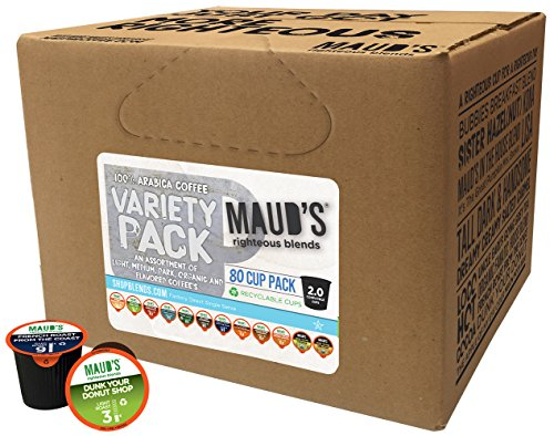 Maud's Gourmet Coffee Pods-Single Serve Coffee Pods-Richly Satisfying Premium Arabica Beans, California-Roasted – Kcup Compatible, Including 2.0 (Coffee Pods, Variety Pack, 80 Count)