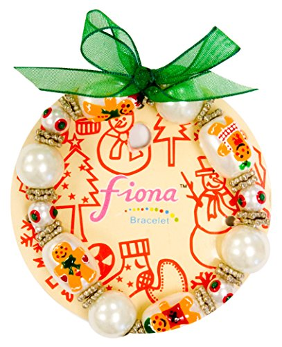 Linpeng Christmas Fiona Hand Painted Gingerbread Man & Mini Snowflakes Glass Beads Stretch Bracelet in Bag_ IUP 13-5, White ()