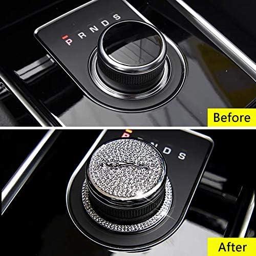 Silver MAXDOOL Crystal Rhinestone Car Bling Accessories Gear Shift Knob Cover Decoration Trim Sticker for Jaguar XF XE XJ F-Pace